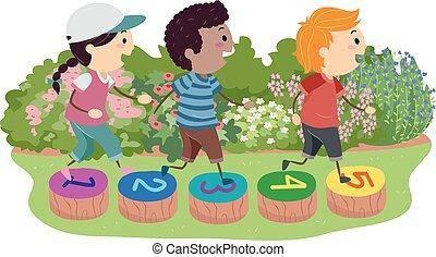 stickman, gyerekek, csiszol, járás, ábra