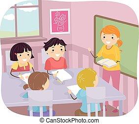 stickman, gyerekek, csoport, osztály