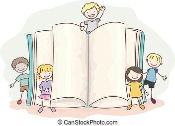stickman, gyerekek, nyitott könyv, ábra