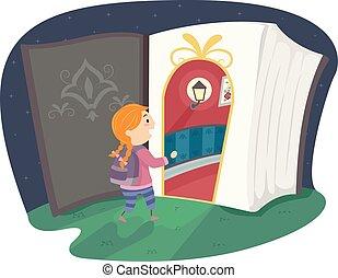 stickman, képzelet, könyv, beír, ajtó, leány, kölyök
