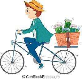 stickman, kiszolgáltat, ábra, füvészkönyv, bicikli, varázsló