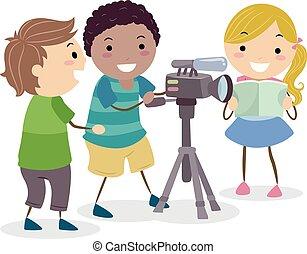 stickman, videó kamera, gyerekek, ábra, feljegyzés
