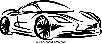 stilizált, autó fut, ábra