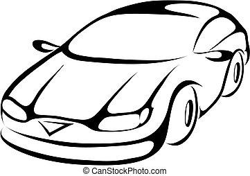 stilizált, autó, karikatúra