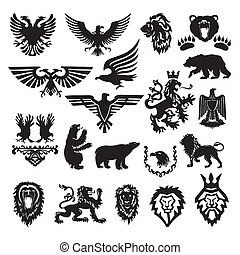 stilizált, címertani, vektor, jelkép