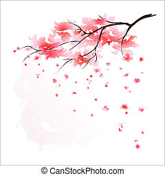 stilizált, cseresznyefa, japán
