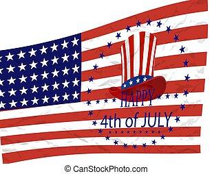 stilizált, day., flag., ábra, jelkép, amerikai, háttér, szabadság