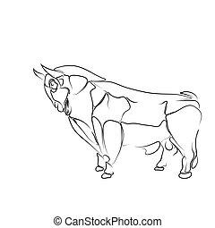 stilizált, elszigetelt, illustration:, háttér, fekete, bika, fehér, körvonal, tetovál