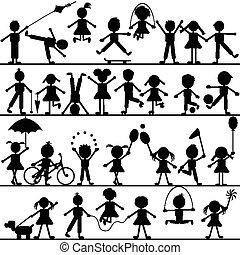 stilizált, húzott, kéz, játék, gyerekek