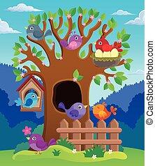 stilizált, kép, fa, téma, madarak