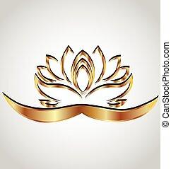 stilizált, lotus virág, arany, jel
