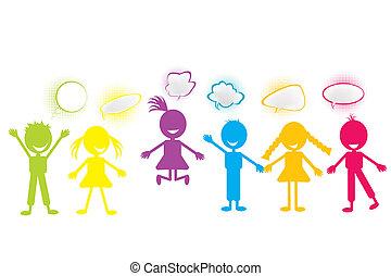stilizált, panama, színezett, csevegés, gyerekek