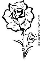 stilizált, rózsa, ütés, fekete, jel