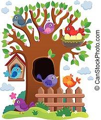 stilizált, téma, fa, madarak