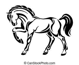 stilizált, tetovál, ló, -, rajz