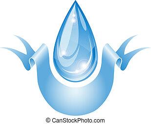 stilizált, víz, drop.