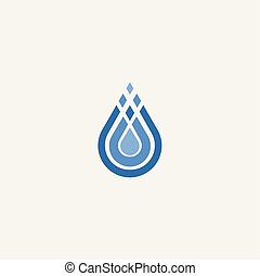 stilizált, víz, jelkép, csepp, vektor