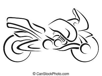 stilizált, vektor, illustra, motorkerékpár