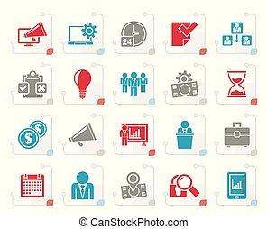 stilizált, vezetőség, fogalom, ügy icons