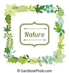 stilizált, zöld, leaves., háttér