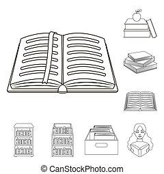 stock., cégtábla., cél, elszigetelt, könyvtár, bitmap, tankönyv, gyűjtés, ikon