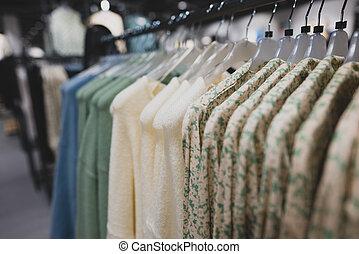 store., ruházat keret, pulóver
