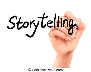 storytelling, kéz, 3, szó, írott