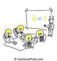 stratégia, eps10, ügy, ugyanaz, az enyém, céltábla, bemutatás, rév, series., vektor, ötletvihar, gyűlés, társaság