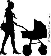 stroller., anya, jár, gyermek