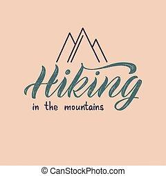 struktúra, felirat, hegyek, természetjárás