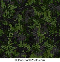 struktúra, motívum, erdő, sötét, camouflage., háttér, seamless