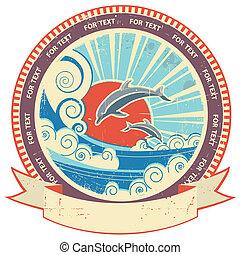 struktúra, szöveg, címke, öreg, háttér, tenger, delfinek, felcsavar, szüret, waves.