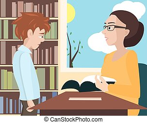 student's, karikatúra, ellenőriz, tanár, vektor, notebooke