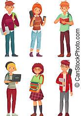 students., tanulás, egyetem hallgató, vektor, előjegyez, tizenéves, betűk, angol, főiskola, hátizsák, karikatúra