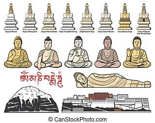 stupas, buddhizmus, tibet, beállít, buddha