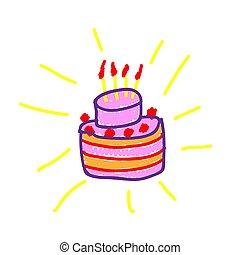 style., festett, illustration., torta, skicc, vagy, követés, kézi munka, gyermek, vektor, birthday., felt-tip, festmény, kölyök, drawing., deliberately, marker., akol, gyerekes