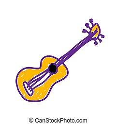 style., gitár, fehér, festett, illustration., skicc, vagy, követés, kézi munka, gyermek, vektor, felt-tip, festmény, kölyök, drawing., deliberately, marker., háttér., akol, gyerekes
