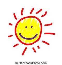 style., nap, festett, illustration., skicc, vagy, könyvjelző, követés, kézi munka, gyermek, vektor, birthday., felt-tip, festmény, kölyök, drawing., deliberately, icon., akol, gyerekes