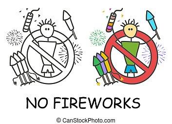 style., tűzijáték, pyrotechnic, nem, elszigetelt, ember, ikon, háttér., aláír, furcsa, jelkép., piros, places., fehér, bot, gyermekek, terület, alkoholmérési tilalom, abbahagy, vektor, böllér, prohibition.