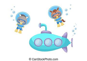 submarine., póló, vízalatti alámerülés, karikatúra, illeszt, úszás, kártya, szamár, tervezés, csinos, album, invitation., ló