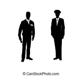 suits., férfiak, ábra, két, vektor