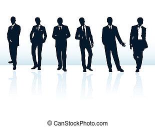 suits., több, üzletember, kék, körvonal, az enyém, állhatatos, vektor, sötét, gallery.