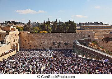 sukkot., legtöbb, ünnep, idő, emberek, fal, terület, -, azt, feláll, zsidó, western, könyörgés, temple., jeruzsálem, reggel, vidám, megtöltött, előbb