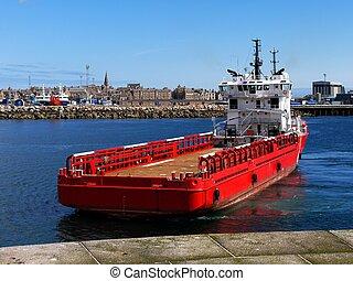 suppy, hajó, part felől, fedélzet