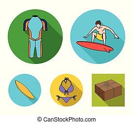 surfboard., wetsuit, mód, szörfözás, állhatatos, ikonok, jelkép, web., gyűjtés, hullámlovas, vektor, lakás, ábra, bikini, részvény