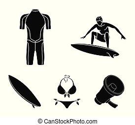 surfboard., wetsuit, mód, szörfözás, állhatatos, ikonok, jelkép, web., gyűjtés, hullámlovas, vektor, fekete, ábra, bikini, részvény