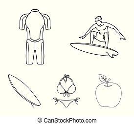 surfboard., wetsuit, mód, szörfözás, áttekintés, ikonok, jelkép, web., gyűjtés, hullámlovas, állhatatos, vektor, ábra, bikini, részvény