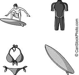 surfboard., wetsuit, mód, szörfözás, ikonok, jelkép, web., gyűjtés, hullámlovas, állhatatos, vektor, ábra, bikini, monochrom, részvény