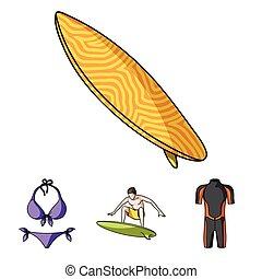 surfboard., wetsuit, mód, szörfözás, ikonok, jelkép, web., gyűjtés, hullámlovas, állhatatos, vektor, ábra, bikini, karikatúra, részvény