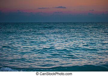 surging, hajnalodik, sötét, ég, tenger